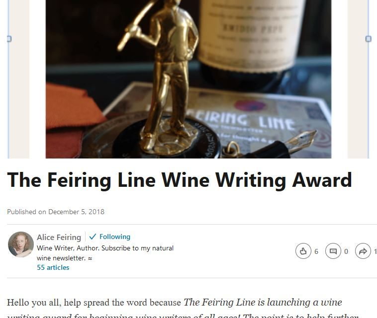 Alice Feiring Sponsors New Wine Writer Competition